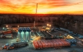 Frac spread at sunset, courtesy of Rockcliff Energy