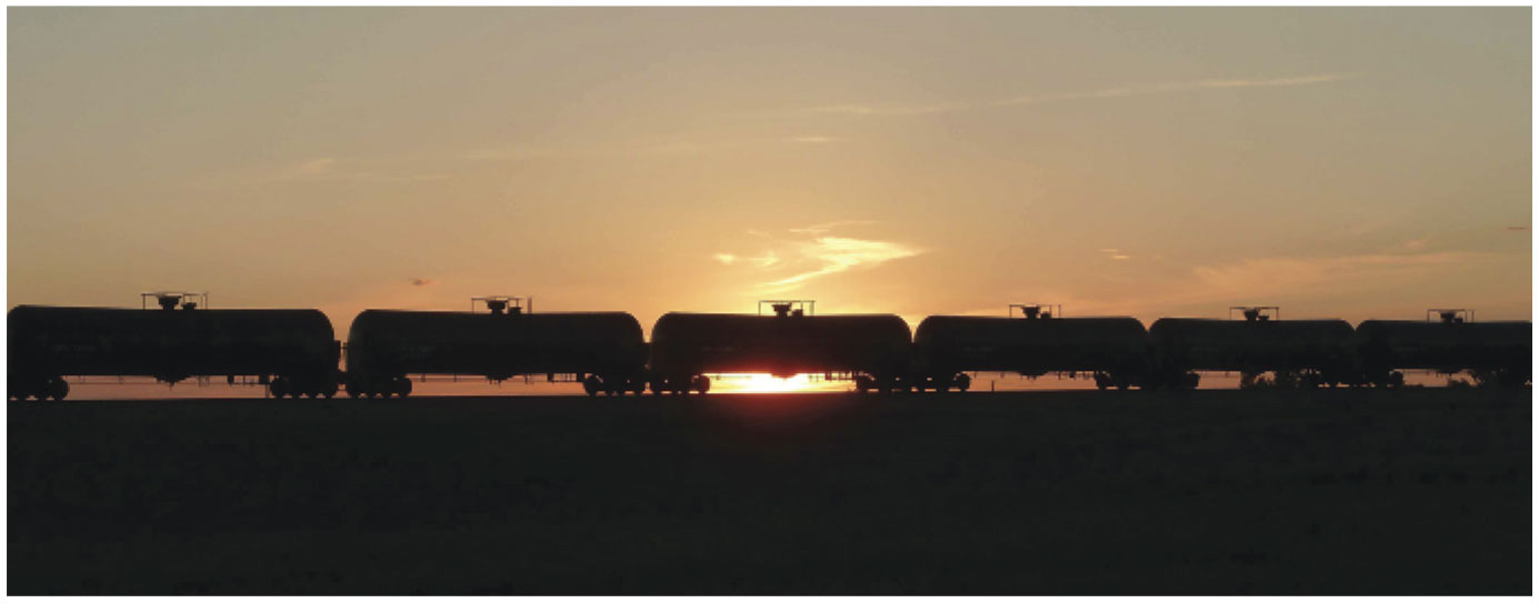 Trains carry crude oil from Bakken Shale to refineries on the East and West Coasts