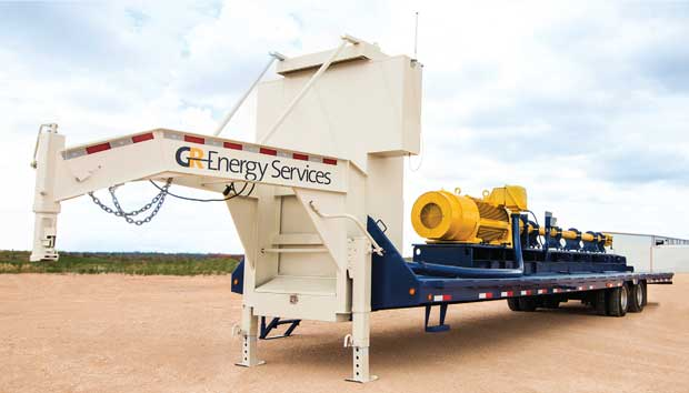 GR Energy Services truck with trailer-mounted horizontal pumping system