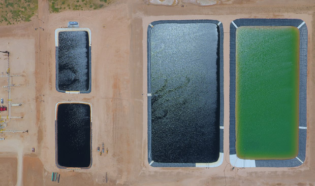 Four water pits at Guidon Energy produced water recycling facility