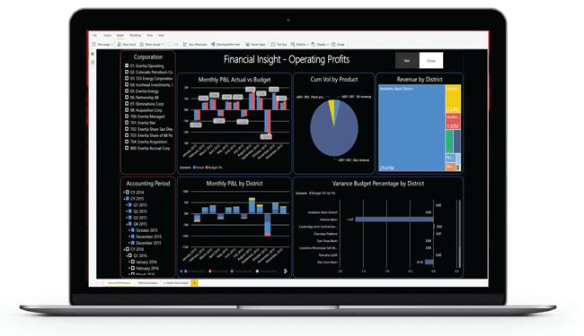 Laptop showing Enertia Software reporting dashboard