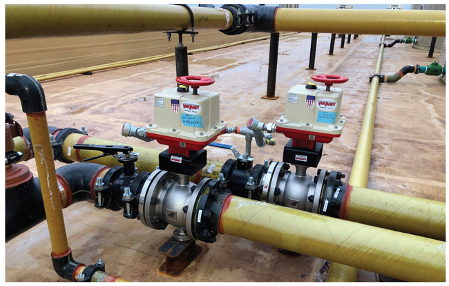 Two lines with VanZandt actuators and valves