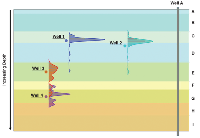 A gun barrel plot of production allocation curves shows wells 1 and 2 drained distinct zones, while wells 3 and 4 overlapped.