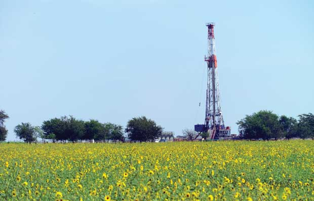 Drilling rig in field
