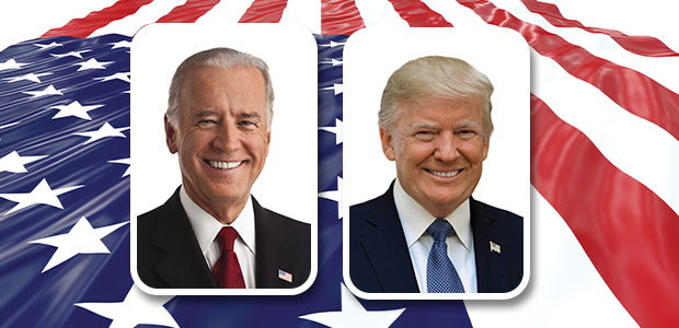 Biden and Trump placed over American Flag