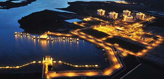 LNG berth at night