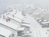 neighborhood in snow